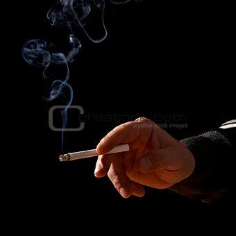 Cigarette In Hand On black