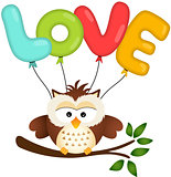 Cute Owl with Love Balloon