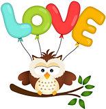 Cute Owl with Love Balloon