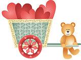 Teddy bear pushing a cart of hearts