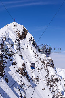 Gondola and croos in Alps