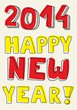 Happy New Year 2014 hand drawn vector colorful wishes isolated on beige background color.