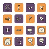 Vector icons or buttons - doodle arrow, home, rss, search, mail, ask, plus, minus, shop, back, forward. Web tools symbols button