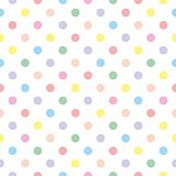 Seamless vector sweet pattern or texture with colorful pastel polka dots on white background