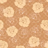 Seamless vector floral pattern elegant beige roses on brown background with polka dots