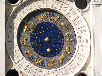 Clock with zodiac signs
