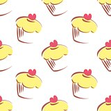 Seamless vector pattern or texture with lemon cupcakes, muffins, sweet cake and red heart on top isolated on white background