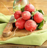 juicy ripe radish on a wooden table