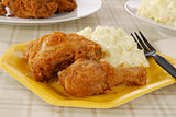 Fried chicken on a picnic plate