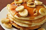 Banana nut pancakes closeup