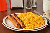 Hot dogs and macaroni and cheese