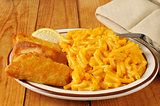 Fish stick with macaroni and cheese