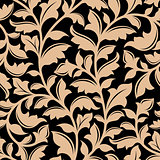 Floral seamless pattern with flourish elements