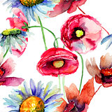Colorful summer flowers, seamless pattern