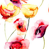 Colorful Poppy flowers, watercolor illustration
