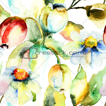 Watercolor painting of Tulips and Chamomile flowers