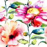 Seamless pattern with Ipomea flowers illustration
