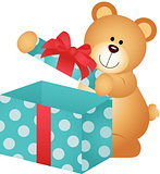 Teddy Bear Open Gift Box
