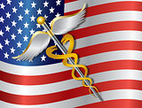 Caduceus Medical Symbol with USA Flag Background Illustration