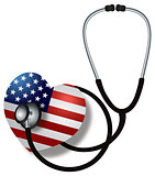 Stethoscope Listening to Heartbeat with USA Flag