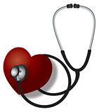 Stethoscope Listening to Heart Beat Illustration