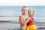 portrait of children on the beach