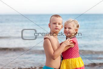 portrait of children on the beach