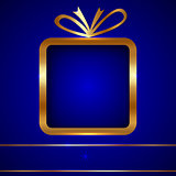 Christmas Greeting Card with Golden Gift on Blue