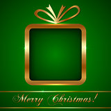 Christmas Greeting Card with Gift on Green