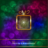 Christmas Greeting Card with Golden Gift