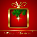 Christmas Greeting Card with Golden Gift on Red