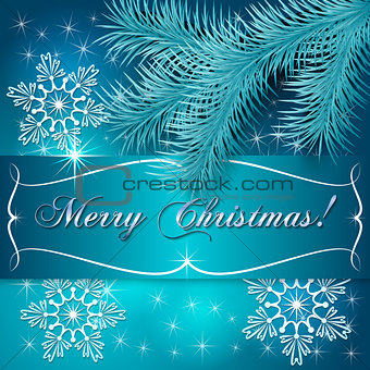 Blue Christmas Greeting Card with Snowflakes