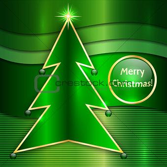 Christmas Card With Metallic Christmas Tree