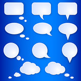 Empty Speech Bubbles on Blue Background