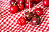 cherries on red napkin