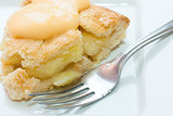 Close up of apple pie and custard
