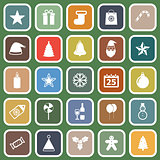 Christmas flat icons on green background