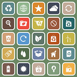 Ecology flat icons on green background