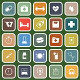 Health flat icons on green background