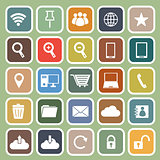 Internet flat icon on green background