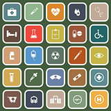 Medical flat icons on green background