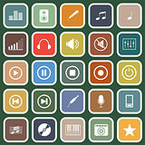 Music flat icons on green background