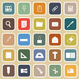 Stationary flat icons on yellow background