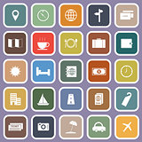 Travel flat icons on violet background
