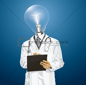 Vector Lamp Head Doctor Man With Clipboard