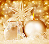 Golden Christmas decoration, holiday background