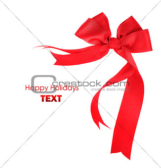 Beautiful red ribbon & bow isolated