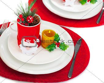 Christmastime table setting