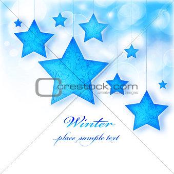 Blue stars Christmas tree ornamental border
