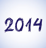 Blue new year 2014 in sketch style